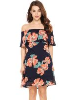 Womens Summer Floral Chiffon Off The Shoulder A Line Party Dress