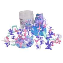 Unicorn Dream Land Bucket – 71 Assorted Unicorns Fairies and Dragon Toy Play Set For Girls | Plastic Magic Sparkle Figures with Storage Container