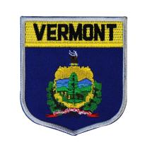 State Flag Shield Vermont Patch Badge Travel USA Embroidered Sew On Applique