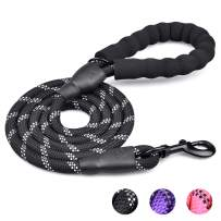 WEAVERBIRD Reflective Dog Leash, 4.6 Ft Heavy Duty Nylon Dog Training Leash with Comfortable Padded Handle Suitable for Outdoor Walking, Running and Training (Black)