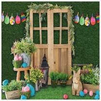 Allenjoy 8x8ft Fabric Green Spring Easter Backdrop Supplies for Professional Photography Hare Rabbits Decoartions Colorful Eggs Studio Children Cake Smash Portrait Pictures Photoshoot Props Favors