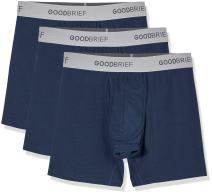 Good Brief Men's 3-Pack Cotton Stretch Classic Fit Boxer Briefs Medium Navy Soft Grey Waistband