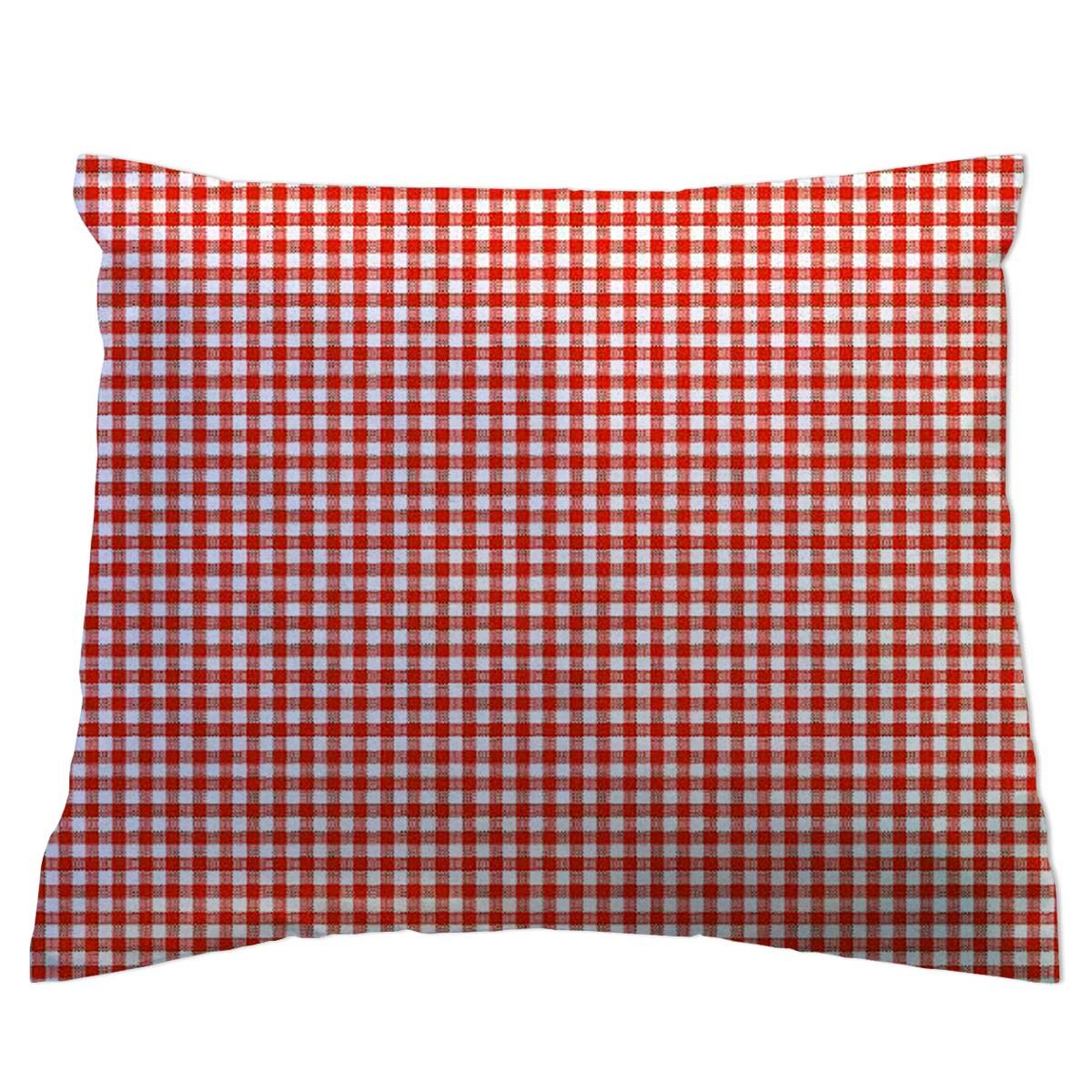 SheetWorld - Toddler Pillowcase Hypoallergenic Made in USA - Primary Gingham Collection - Red 13 x 17