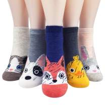 IIG 5 Pairs Womens Novelty No Show Socks Low Cut Funny Animal Cotton Ankle Socks
