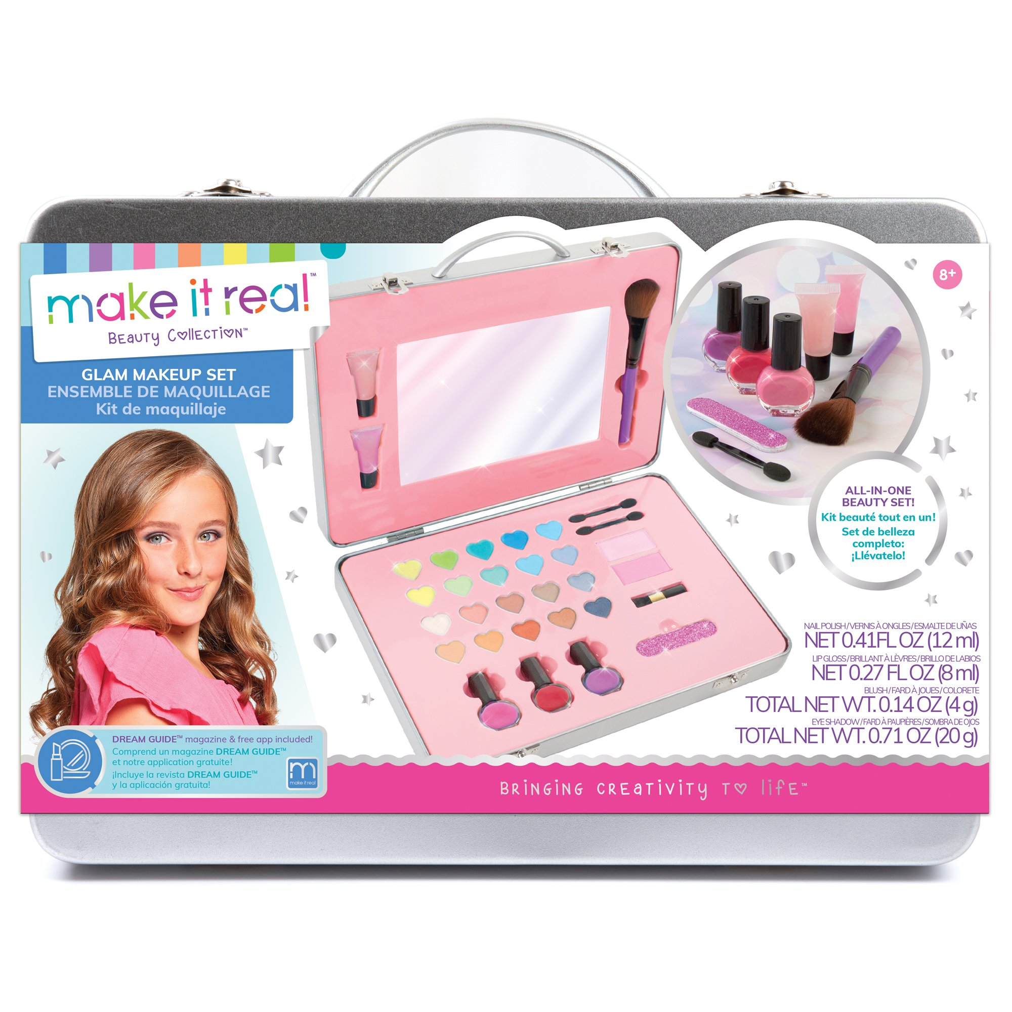 Make It Real - All-in-One Glam Makeup Set. Girls Makeup Kit is a Perfect Starter Cosmetic Set for Kids and Tweens. Includes Case, Mirror, Eye Shadow, Blush, Brushes, Lip Gloss, Nail Polish and More