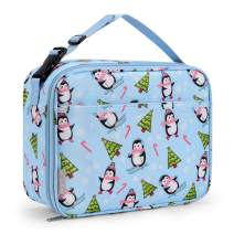Bagmine Kids Toddler Lunch Bag, Insulated Lunch Box for Girls, Boys & Adults, Moisture Resistant Reusable Lunchbox with Multiple Patterns & Card Slot for School, Picnic, Travel or Work (Penguin)