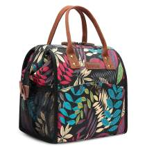 CoolBELL Lunch Bags For Women Floral Lunch Tote Water-Resistant Cooler Bag Soft Leak Proof Lunch Box Insulated Lunch Holder With Wide Opening for Women/Girl/Office (Black Colorful Leaves)