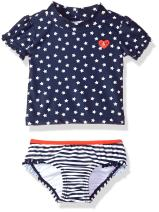 KIKO & MAX Girls' Swimsuit Set with Short Sleeve Rashguard Swim Shirt