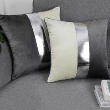 Faromily Gray Velvet Accent Throw Pillow Covers 20x20 Soft Solid Silver Faux Leather Striped Velvet Square Luxury Cushion Covers Plush Modern Set of 2