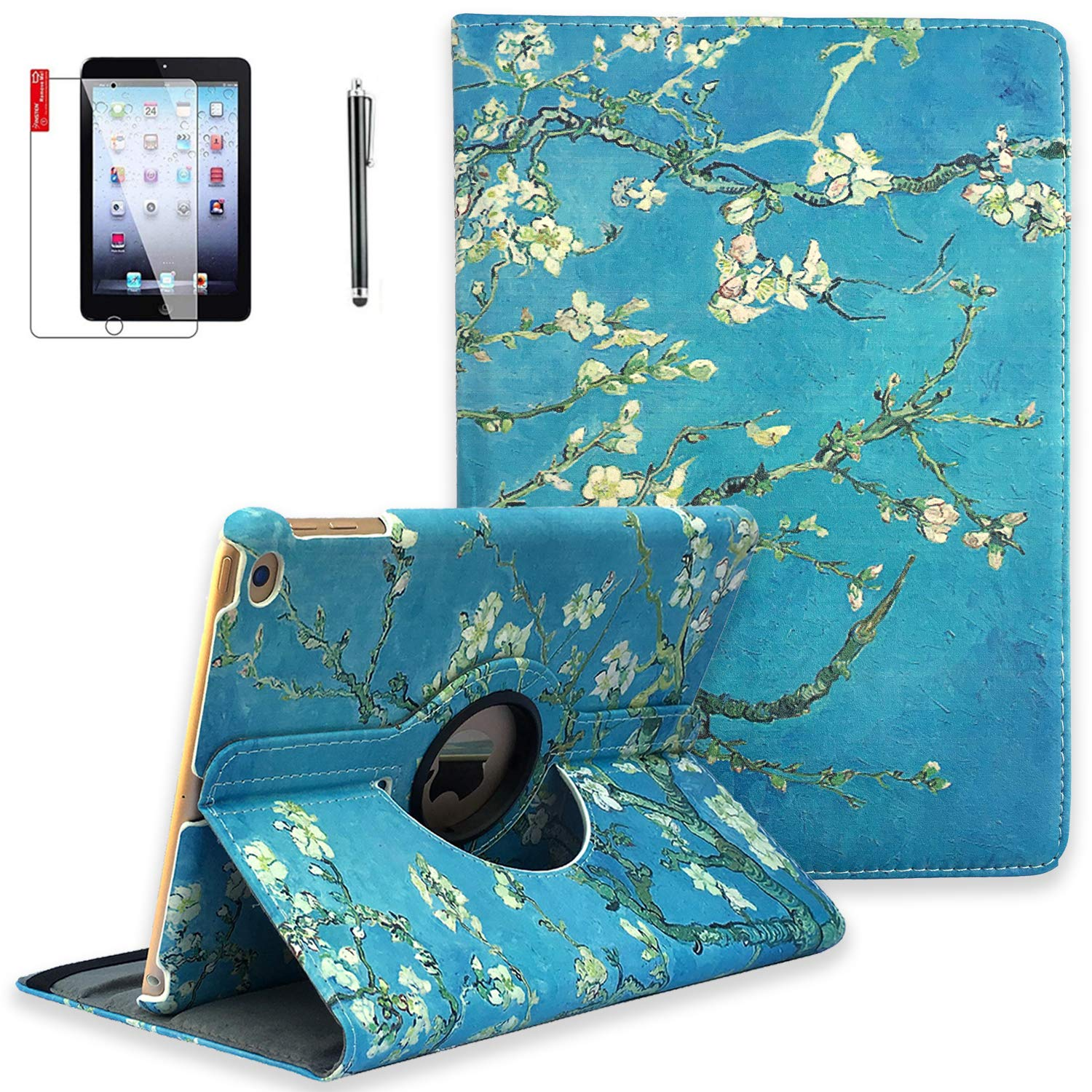 NEWQIANG iPad 9.7 inch 2018 2017 Air1 Case with Screen Protector - iPad 5th 6th Generation Case - 360 Degree Rotating Stand, Auto Sleep Wake, Shockproof - A1822 A1823 A1474 A1475 (Pear Flower)
