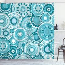 "Ambesonne Aqua Shower Curtain, Hippie Floral Leaves Mandala Rounds Traditional Elements Print, Cloth Fabric Bathroom Decor Set with Hooks, 84"" Long Extra, Turquoise White"