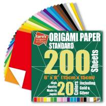 [Taro's Origami Studio] Standard 6 Inch One Sided 20 Colors 200 Sheets Square Easy Fold Premium Japanese Paper for Beginner (Gold and Silver Included) Made in Japan