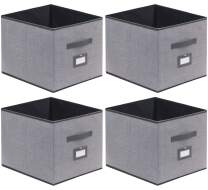 Onlyeasy Cloth Storage Bins Foldable Cube Storage Bin 4 Pack - Fabric Cube Organizers Container Drawers with Dual Handles for Shelves, 13 x 15 x 13 inch, Linen-Like Grey, 7MXDBXL04PLP