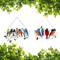 Multicolor Birds on a Wire High Stained Glass Suncatcher Window Panel, Personality Birds Window Hangings Suncatchers,Bird Series Ornaments Pendant , Acrylic Birds-On-A-Wire Gifts for Bird Lover (C)