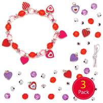 Baker Ross AT418 Heart Charm Bracelet Kits — Creative Valentine's Day Art and Craft Supplies for Kids to Make and Decorate (3 Pack)