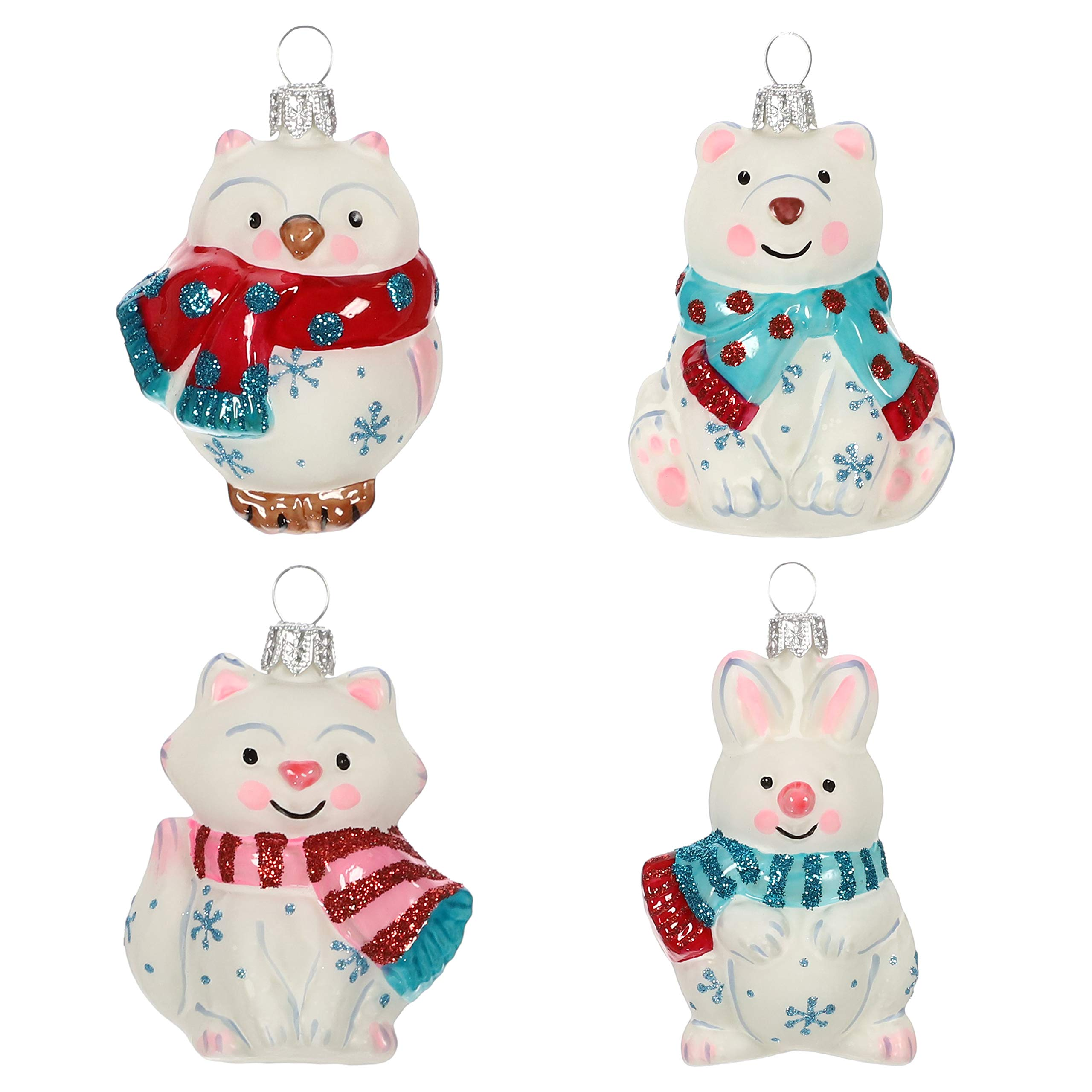 Hallmark Keepsake Mini Christmas 2019 Year Dated Arctic Friends Animals Miniature Blown Glass Ornament, Set of 4, 4 Count