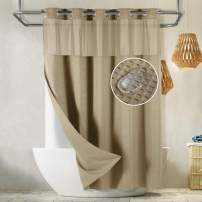 Lagute SnapHook Waffle Weave Fabric Hook Free Shower Curtain with Snap-in Liner, Heavy Duty Bath Curtain with See Through Top, Hotel Grade, Water Repellent, Machine Washable, 71Wx78L, Beige