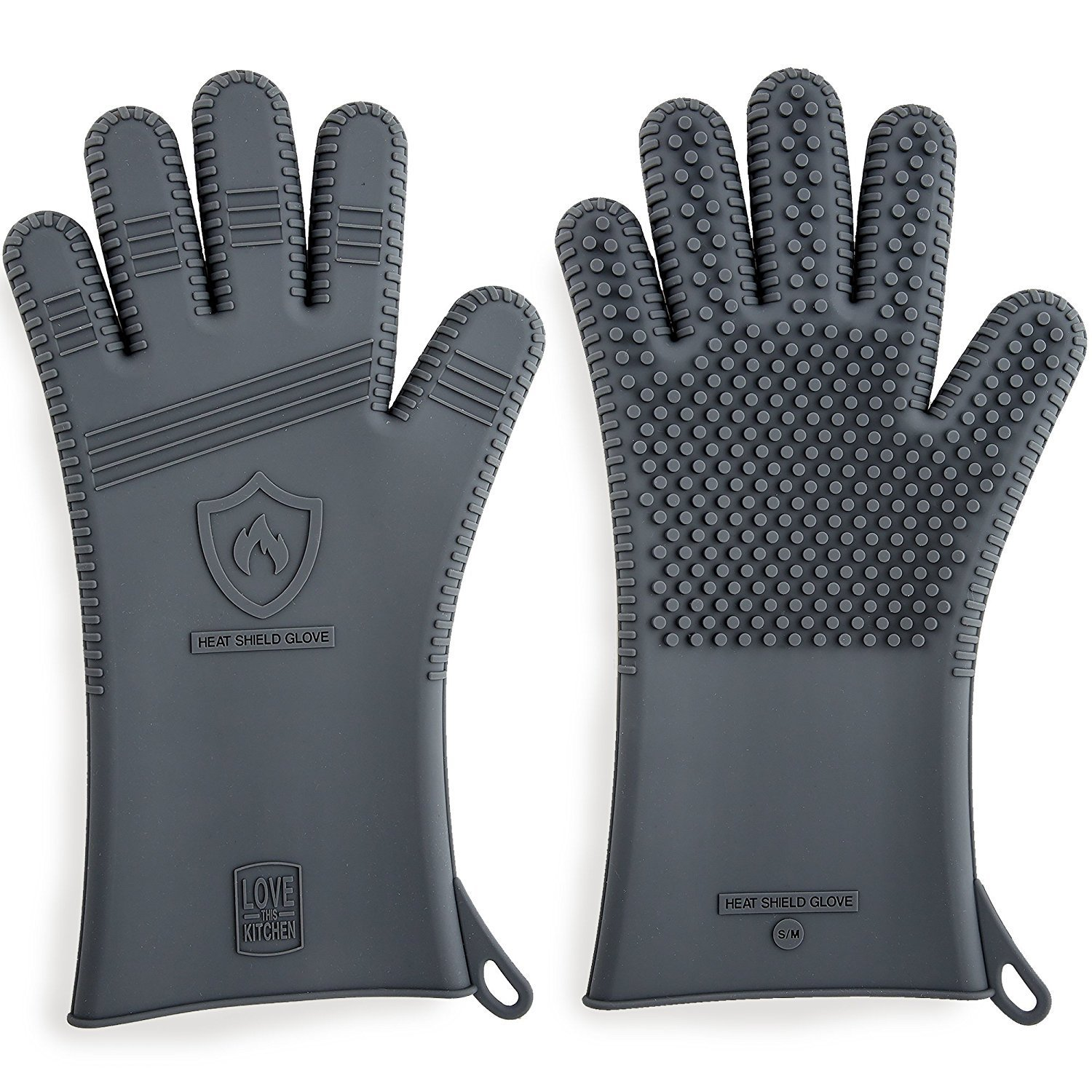 Premium Silicone BBQ Gloves & Grill Gloves in Attractive Gift Box. 13.5 inch Long for Better Protection. These Grilling Gloves are Best For Barbecue & Oven, Heat Resistant to 442 F (Size: S/M, 1 Pair)