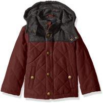 London Fog Boys Barn Jacket With Faux Wool Hood And Yolk