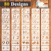40 Pcs Letter Stencils for Painting,80 Designs Reusable DIY Craft Plastic Alphabet and Number Templates Set on Wood and Wall,Calligraphy Font Signs Letters Stencil