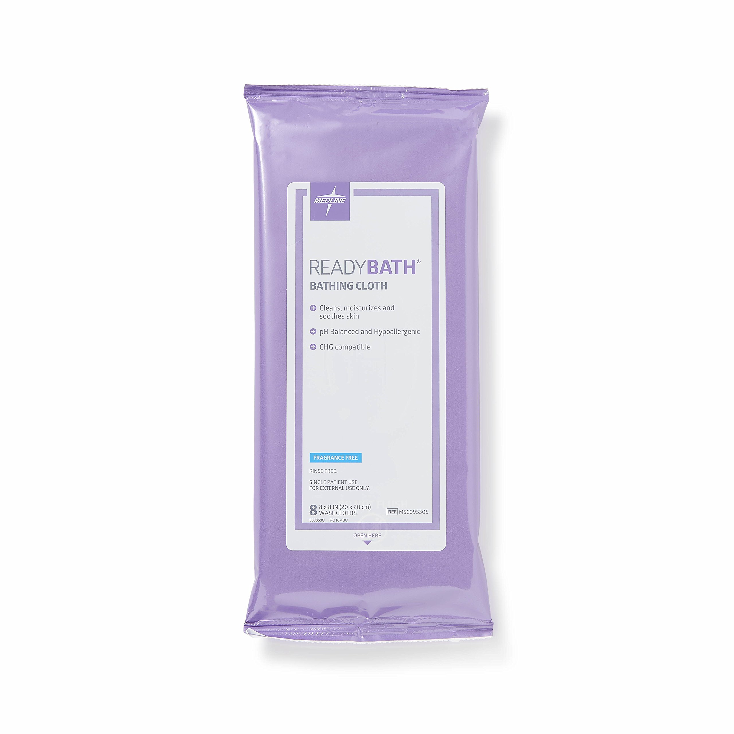 Medline - MSC095305 ReadyBath Unscented Body Cleansing Cloths, Standard Weight Wipes (8 Count Pack, 30 Packs)