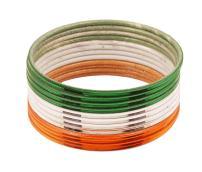 Touchstone Indian Flag Colors Denoting Patriotic Love Metal Bangle Bracelets Set of 12 for Women.