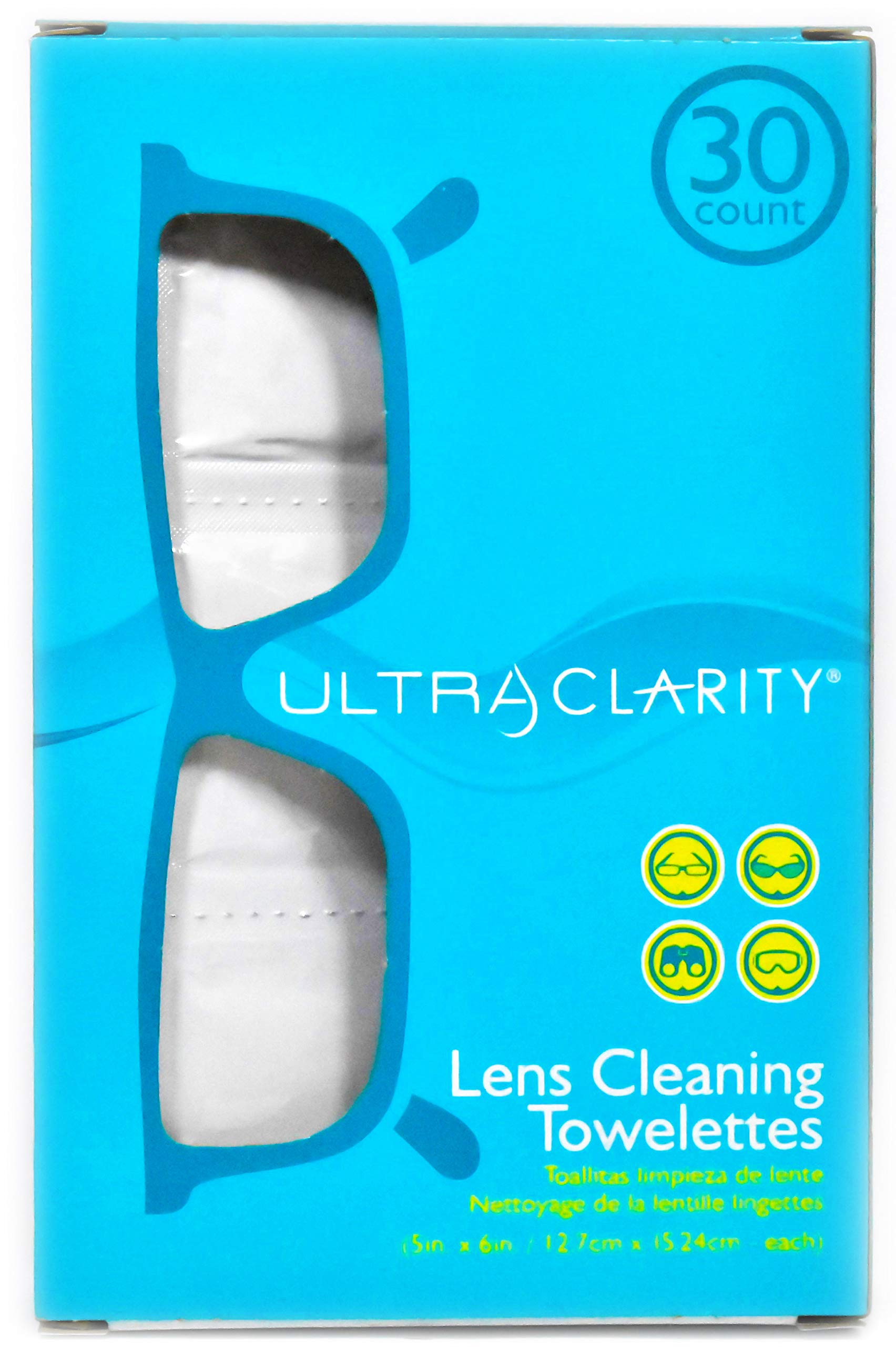Ultra Clarity Eyeglass Cleaner Wipes - Lens & Screen Cleaning Moist Towelettes, 30 Count