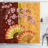 """Ambesonne Floral Shower Curtain, Composition of Burgeoning Sakura Blooms Japanese Garden Art, Cloth Fabric Bathroom Decor Set with Hooks, 84"""" Long Extra, Pink Marigold"""