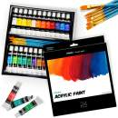 Ohuhu Complete Acrylic Paint Set – 24х Rich Pigment Colors – 6 x Art Brushes – for Painting Canvas, Clay, Ceramic & Crafts, Non-Toxic & Quick Dry – for Kids Adults Mother's Day Back to School Gifts