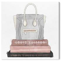 """The Oliver Gal Artist Co. Fashion and Glam Wall Art Canvas Prints 'My Fancy Purse and Books' Home Décor, 24"""" x 24"""", Pink, Gray"""