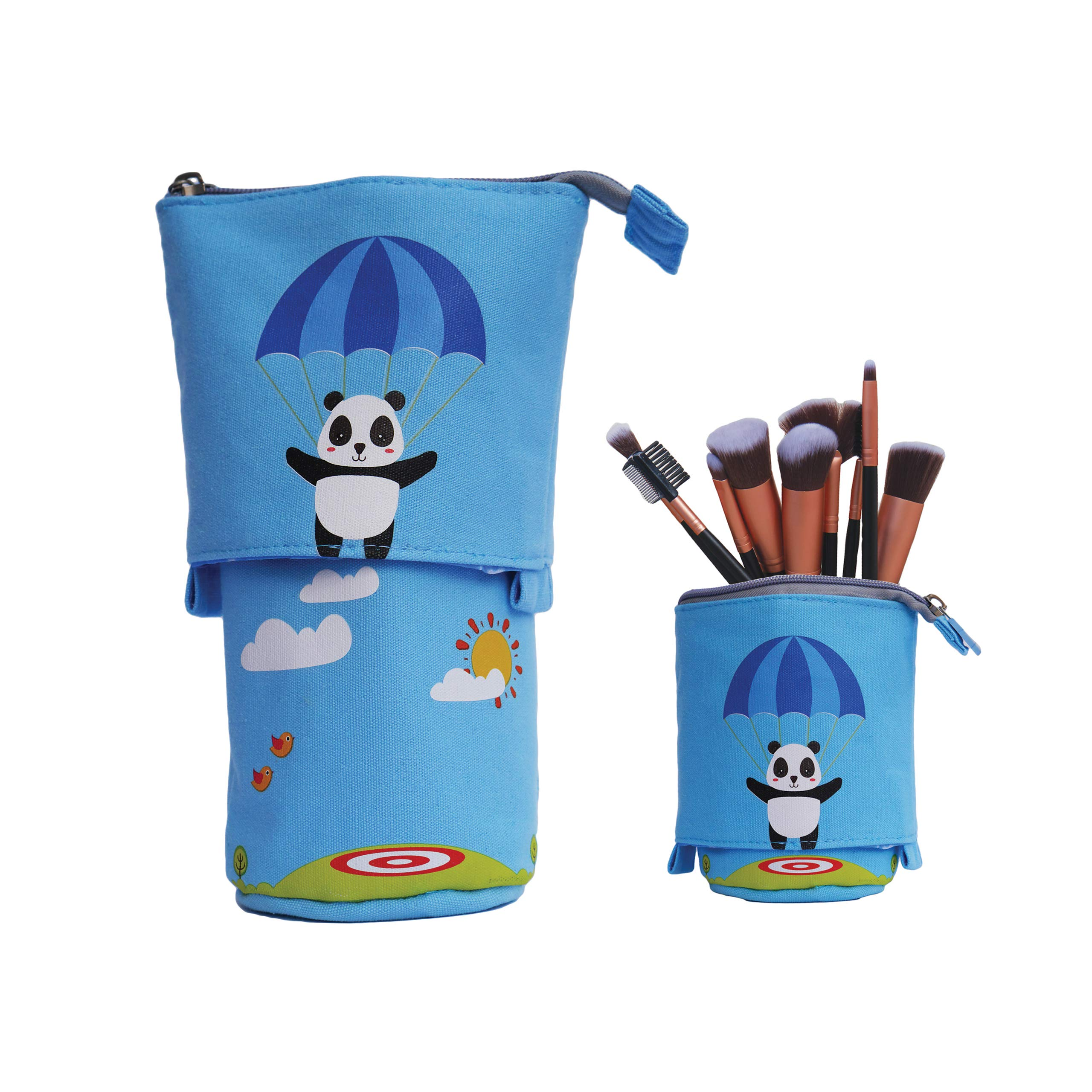 Telescopic Slidable Panda Design Case for Stationery Pencils Pens Makeup iPhone/Android Phones Gadget Accessories Pouch (Sky Blue 2)
