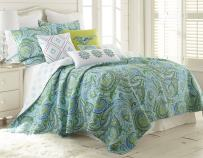 Levtex Home Spruce Teal Quilt Set - King Quilt + Two King Pillow Shams - Paisley Pattern in Teals, Greens and Blues - Quilt Size (106 x 92) and Pillow Sham Size (36 x 20) - Reversible - Cotton
