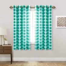 Hiasan Buffalo Plaid Sheer Curtains - Light Filtering Voile Checkered Curtains for Living Room and Bedroom, 52 X 63 Inches Long, Set of 2 Window Curtain Panels, Teal and White