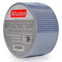 XFasten Reflective Tape, White and Silver, 2 Inches by 5 Yards - High Intensity - DOT-C2 Safety Tape Waterproof Conspicuity Trailer Reflector