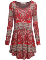 Faddare Women Tunic Dresses Top Long Sleeve Scoop Neck Casual Paisley Printed Shirt Flared Ethnic Style Swing Dress,Red XL