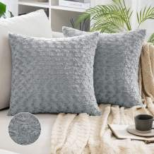 MIULEE Pack of 2 Decorative Throw Pillow Covers Luxury Faux Fuzzy Fur Super Soft Cushion Pillow Case Decor Grey Cases for Couch Sofa Bedroom 18 x 18 Inch 45 x 45 cm