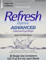 Refresh Optive Advanced Lubricant Eye Drops Sensitive Pack of 2-30 Single-use containers per Box(0.01 fl Each)