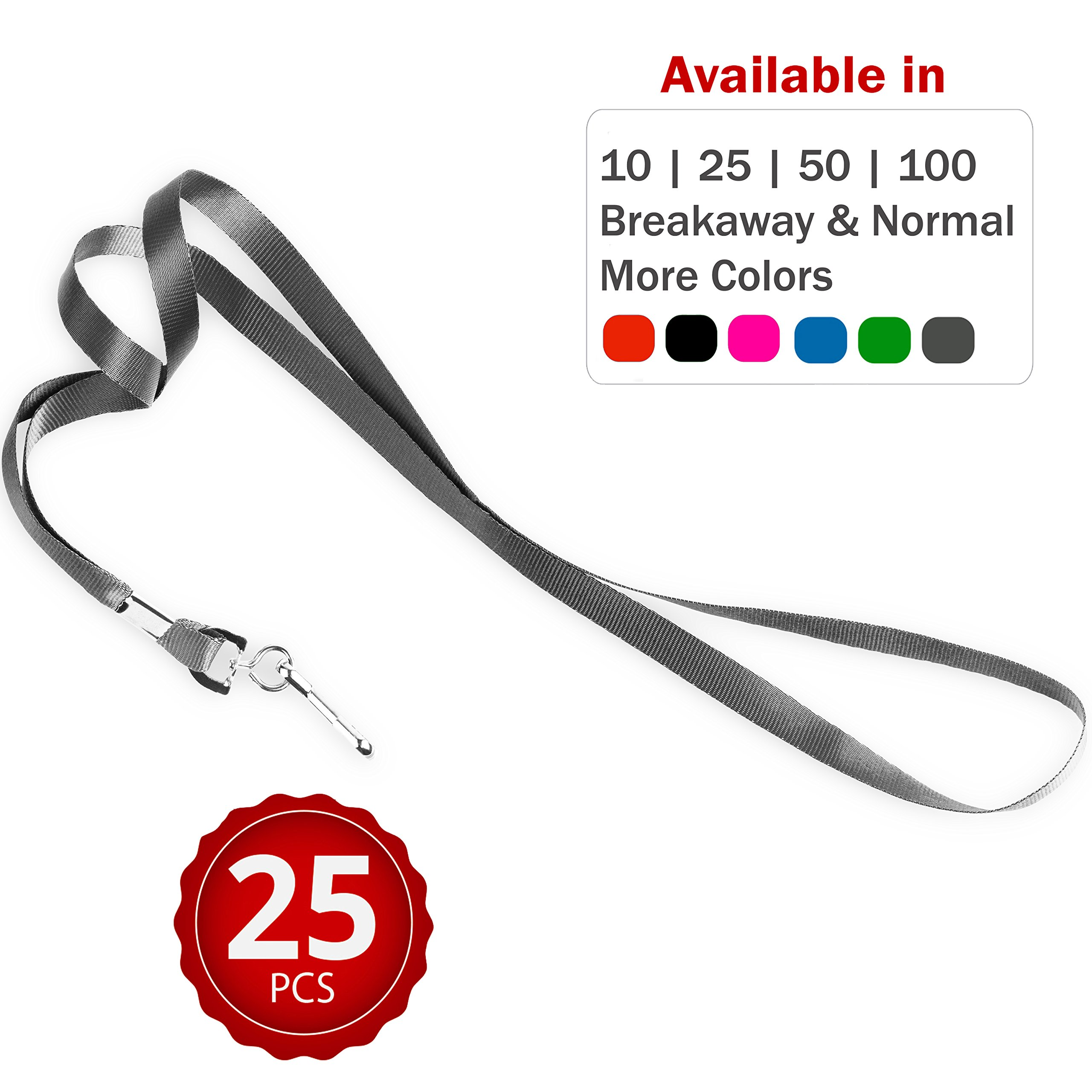 Durably Woven Lanyards ~Premium Quality, Smoothly Finished for Skin-Friendly Comfort ~ for Moms, Teachers, Tours, Events, Businesses, Cruises & More (25 Pack, Grey) by Stationery King