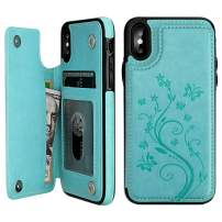 """Vaburs iPhone X Case Wallet with Card Holder, iPhone Xs Embossed Butterfly Premium PU Leather Double Magnetic Buttons Flip Shockproof Protective Case Cover for iPhone X/Xs (5.8"""", Mint Green)"""