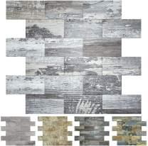 Art3d Peel and Stick Tile Backsplash, PVC Light Rustic Backsplash Wood Tile for Kitchen Peel and Stick 1-Sheet