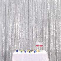 Eternal Beauty Silver Sequin Wedding Backdrop Photography Background Party Curtain, 4Ft X 6Ft