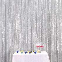 Eternal Beauty Silver Sequin Wedding Backdrop Photography Background Party Curtain, 4Ft X 6.5Ft