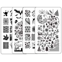 Ejiubas Nail Stamping Kit Stamping Plates Christmas Nail Art Plates Manicure Nail Stamping Plate Halloween Nail Stamping Template Double Sided 2 Counts 4 Sides