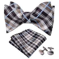 YOHOWA Mens Self Tie Bow Tie with Pocket Square Silk Bow Tie Cufflinks Set