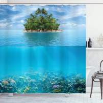 "Ambesonne Tropical Shower Curtain, Lonely Small Island on The Ocean Jungle Exotic Style Flora and Fauna, Cloth Fabric Bathroom Decor Set with Hooks, 70"" Long, Aqua Green"