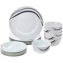 AmazonBasics 18-Piece Kitchen Dinnerware Set, Plates, Dishes, Bowls, Service for 6, Half Moon