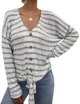 RIFESHOW Women's Tie Knot Shirt Long Sleeve Striped Button Down Shirt Tops