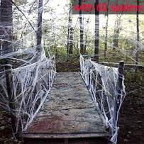 Moon Boat Fake Spider Web Halloween Party Decorations Props 1000 sqft with 60 Spiders