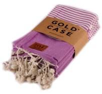 Gold Case Hera Small Peshtemal Set of 4 Turkish Bath Spa Yoga Tea Towel for Hand Face Kitchen 20x40 100% Cotton Purple
