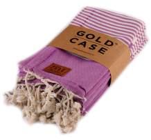 Hera by Gold Case | Original Turkish Hand Towels Set of 12 | Decortive Peshtemal | Kitchen Dish Hand Face Spa Yoga Towel - 20x40 | 100% Cotton | Multifunctional Quick Drying Towel (Purple)